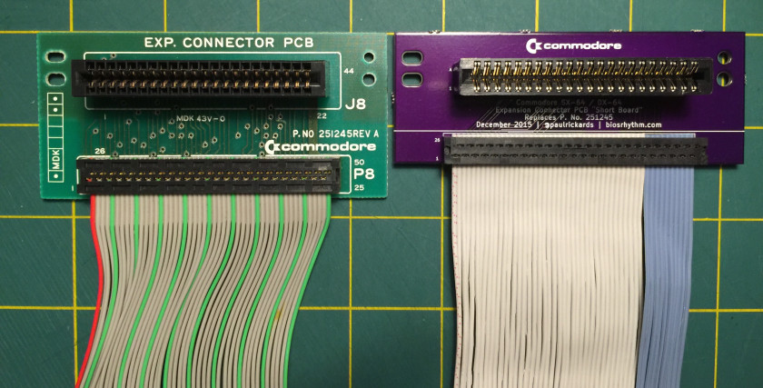SX-64 Expansion Connector PCBs, Original and Short