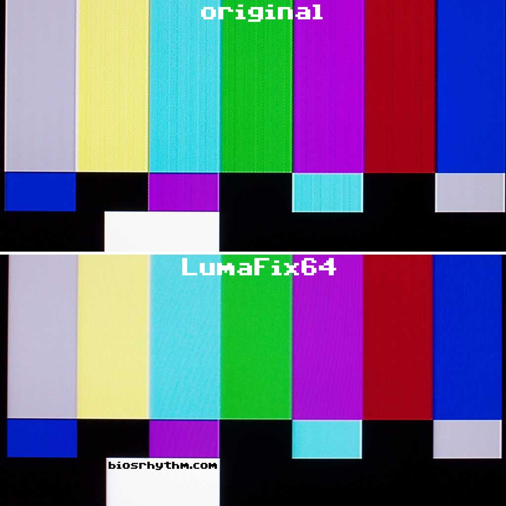 Top: original, bottom: LumaFix64