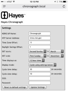 Hayes Chronograph configuration page